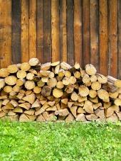 Kopa čerstvě narúbaného dřeva