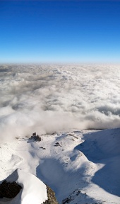 Letecký pohled na Lomnické sedlo ve Vysokých Tatrách