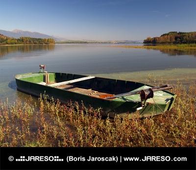 Rybářská loďka v rákosí