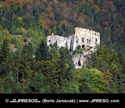 Zřícenina hradu Likava ukrytá hluboko v lese na Slovensku