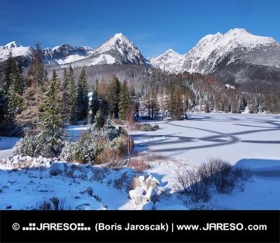 Zamrzlé Štrbské Pleso ve Vysokých Tatrách v zimě