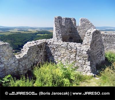 Zničené zdi Čachtického hradu během léta