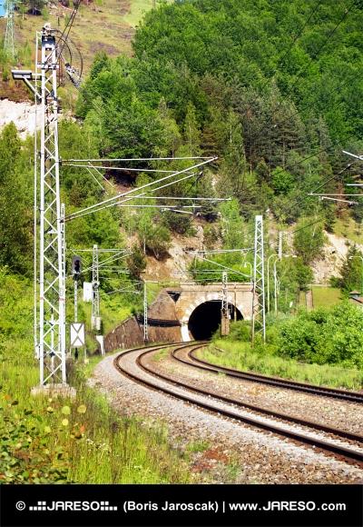 Železniční trať s tunelem při Šútově