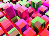 Červené a zelené kubické pozadí