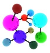 Abstraktní pestrobarevná molekula