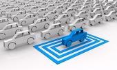 Modré autíčko vybrané ve čtvercích