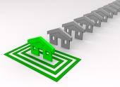 Zelený domek vybraný ve čtvercích