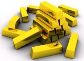 Zlaté cihly na bílém pozadí