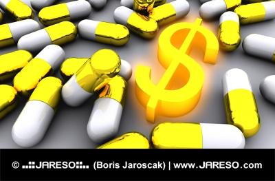Hodně zlatých pilulek a symbol zářícího dolaru