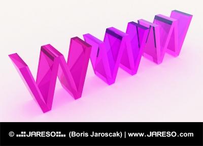 Skleněný 3d WWW text v růžovém barevném schématu