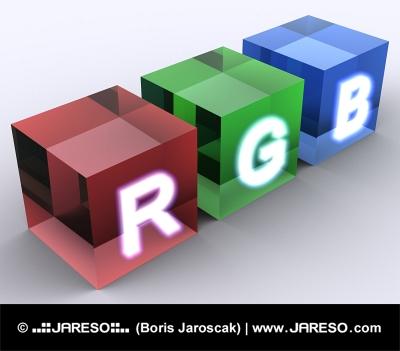 Abstraktní kostky barevného modelu RGB