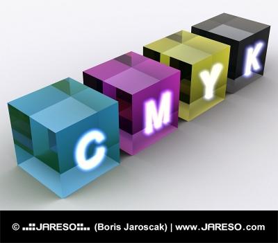 Abstraktní kostky barevného modelu CMYK
