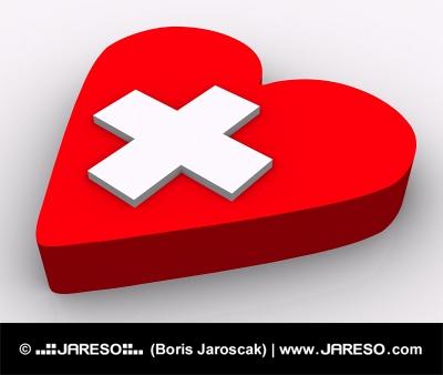 Koncept. Srdce a kříž na bílém pozadí