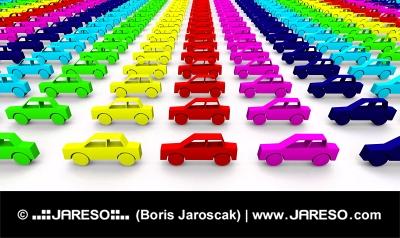 Koncept aut v barvách duhy