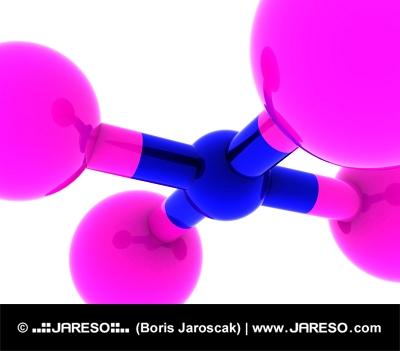 Abstraktní molekula v růžové a modré barvě