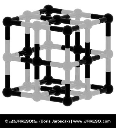 Černá a bílá kubická struktura