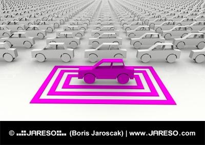 Abstraktní růžové autíčko zvýrazněné symbolickým čtvercem