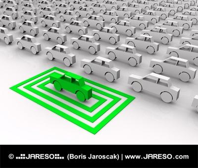 Zelené autíčko zvýrazněné ve čtvercích