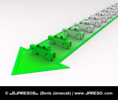 Autíčka zabarvené do zelena